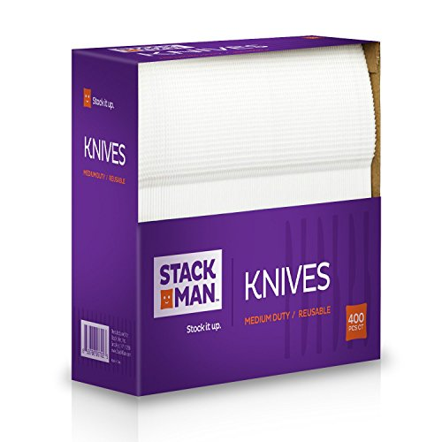 Stack Man Medium Weight Plastic Knives, White, 400 per ()
