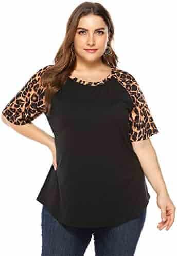 3b4b164797c Sanifer Women's Leopard Printed Short Sleeve Plus Size Shirts Tops Tunics
