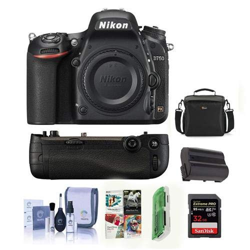 Nikon D750 FX-Format Digital SLR Body Only Camera - Bundle with Camera Bag, 32GB Class 10 SDHC Card, Nikon MB-D16 Multi Power Battery Pack, Spare Battery, Cleaning Kit, Card Reader, Software Package