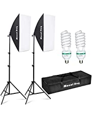 """MOUNTDOG Photography Softbox Lighting Kit 95W 20""""x28"""" Professional Studio Soft Box Lights Continuous Lighting for Youtube Video Filming Portrait (2 Softboxes + 2 80"""" Stand + 2 5500K Bulbs + Carry Bag)"""