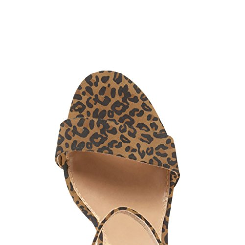 FSJ Women Classic Chunky High Heel Sandals Open Toe Ankle Strap Single Band Dress Shoes Size 4-15 US Brown-leopard cheap sale outlet locations discount cheap iaQm3