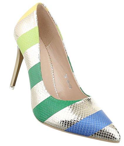 Damen Pumps Schuhe High Heels Stöckelschuhe Stiletto Beige Gold Silber 36 37 38 39 40 Gold
