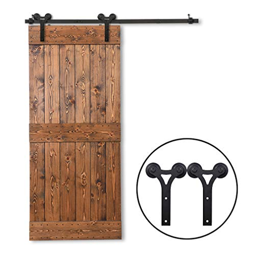 CCJH 8FT Heavy Duty Sturdy Sliding Barn Door Hardware Kit for Single Wood Door Y Shape Smoothly and Easily Install- One Instruction Included- Maximum Fit 48