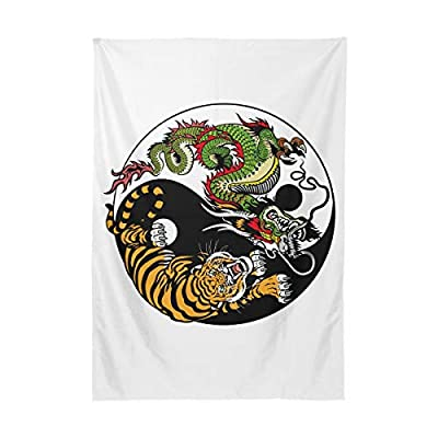 UWSG Rectangular Table Cloth in Washable Polyester - Great for Buffet Table, Parties, Holiday Dinner, Wedding & More Dragon Tiger Yin Yang Symbol Harmony Balance