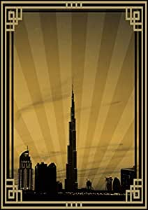 Photo Of Dubai Skyline Down Town - Sepia With Gold Border No Text, Print Only (a1)