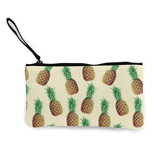 Wristlet Clutch Wallet Cute Pineapple Seamless Pattern Canvas Coin Purse Handbag