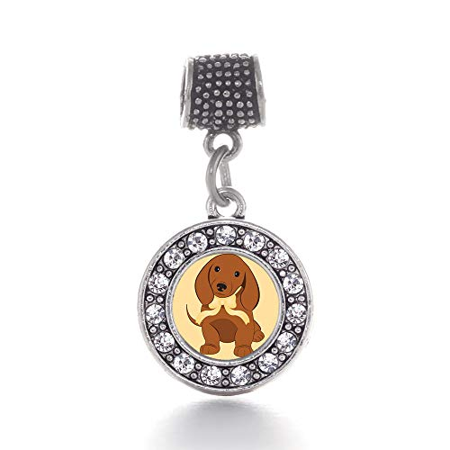 (Inspired Silver - Cute Little Dachshund Memory Charm for Women - Silver Circle Charm for Bracelet with Cubic Zirconia Jewelry)