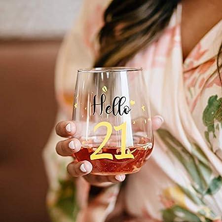 Hola gracioso 21 Copas de vino sin tallo de oro Regalos para el cumpleaños número 21 de Gril Friend Regalos para el mejor amigo Fiesta Aniversario Decoraciones de fiesta Navidad