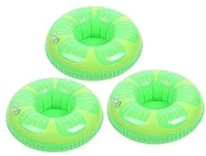 DATO 3 Piezas Flotador Posavasos Titular de la Taza Piscina Inflable Bebida Flotador Juguetes de Baño para Niños y Adultos - Verde Limón: Amazon.es: ...