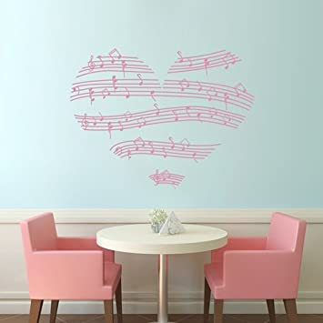 amazon com tgsik diy pink stripe music love heart wall decals