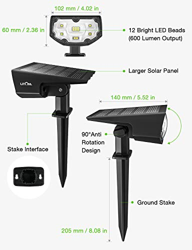 LITOM 12 LED Solar Landscape Spotlights, IP67 Waterproof Solar Powered Wall Lights 2-in-1 Wireless Outdoor Solar Landscaping Light for Yard Garden Driveway Porch Walkway Pool Patio 2 Pack Cold White