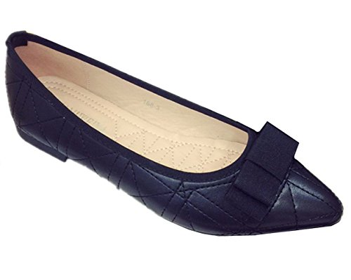 Flat Womens Shoes Bowknot Ballet J Comfortable ANBOVER Flats Toe Black Office Work Pointy qSxSw06