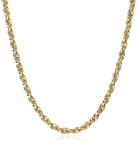 """Men's 14k Yellow Gold Hollow Diamond-Cut Rope Chain Necklace (2.25mm ), 24"""""""