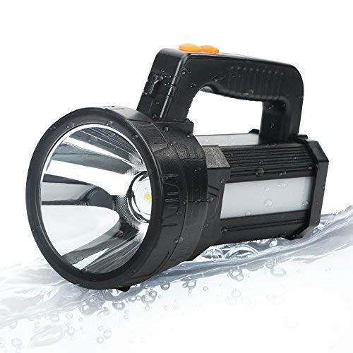 BIGSUN Super Bright LED Spotlight Flashlight, 9000 mAh Rechargeable Searchlight Ultra High Power 6000 Lumens 5 light mode