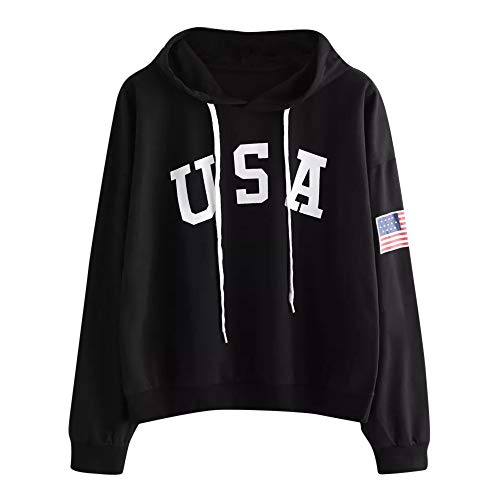 - Letter USA Flag TOOPOOT Womens Teen Girls Hoodies Fall Winter Crewneck Sweatshirts Fleece Pullover Tops