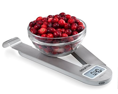 Gourmia GKS9165 Stainless Steel Folding Scale Compact Electronic Kitchen Scale With Hanger Hook & Tare Function - Battery Included (Joseph Joseph Triscale Compact Folding Digital Scale)