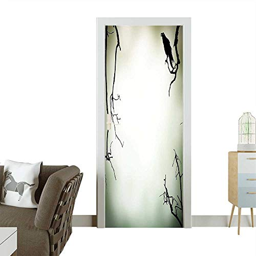 Door Sticker Wall Decals Crow Bird on Leafless Branch Cemetery Death Spirit Animal Evil Funeral Sepia Easy to Peel and StickW36 x H79 - Doll Funeral