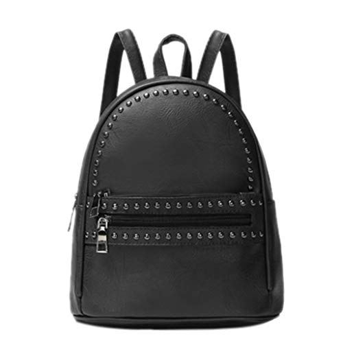 - Women Backpack Purse Small Crossbody Bags Shoulder Bag for Girls Stylish Ladies Messenger Bags Unisex Handbags With Rivet (Black)