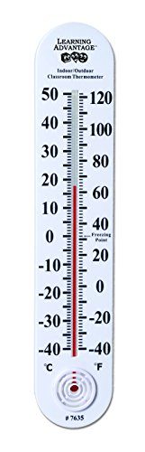 Classroom Giant Thermometer (Learning Advantage Indoor/Outdoor Classroom Thermometer Large For School Use Learning Thermometer)