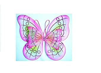 Double Layered Rainbow Fairy Princess Butterfly Costume Dress-up Wings (PINK)