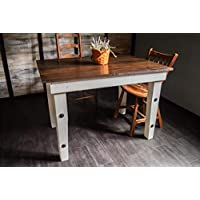 Handmade Wooden Dining Table by Sugar Mtn Woodworks - Dark Finished Wood with Distressed White Paint