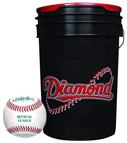 Diamond 6-Gallon Ball Bucket with 30 Leather Grade BLEM Practice Baseballs