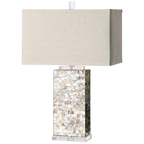 Giana Coastal Beach Shell Mosaic Crystal Table Lamp ()