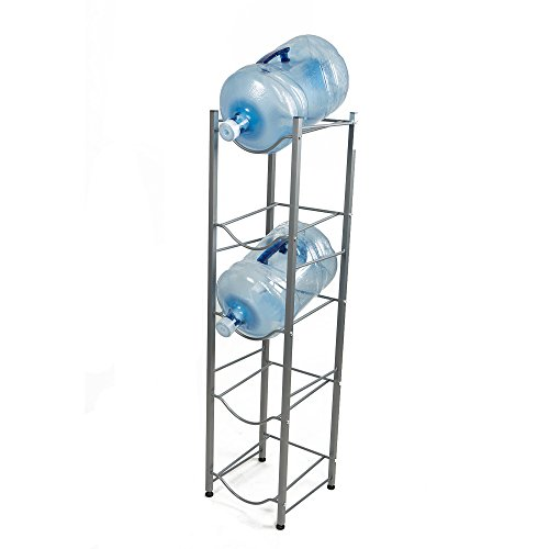 Mind Reader 5 Tier Stainless Steel Heavy Duty Water Cooler Jug Rack, Silver Water Bottle Rack