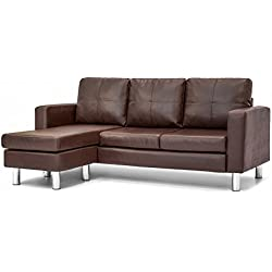 Best Choice Products Leather L-Shape Sectional Sofa Couch w/Reversible Chaise Ottoman (Brown)