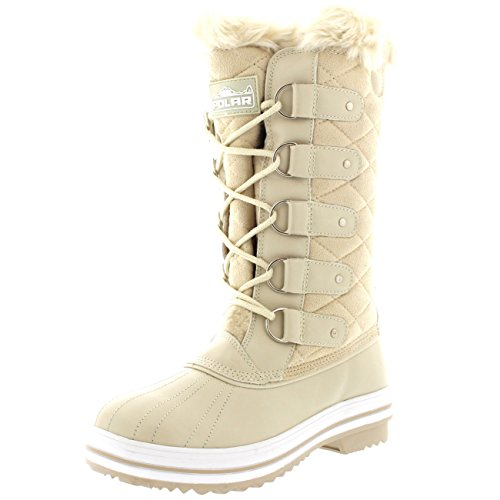 Womens Snow Boot Quilted Tall Winter Snow Waterproof Warm Rain