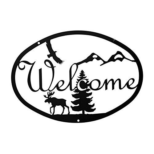 - Iron Medium Moose & Eagle Home Address Welcome Sign Med - Black Metal