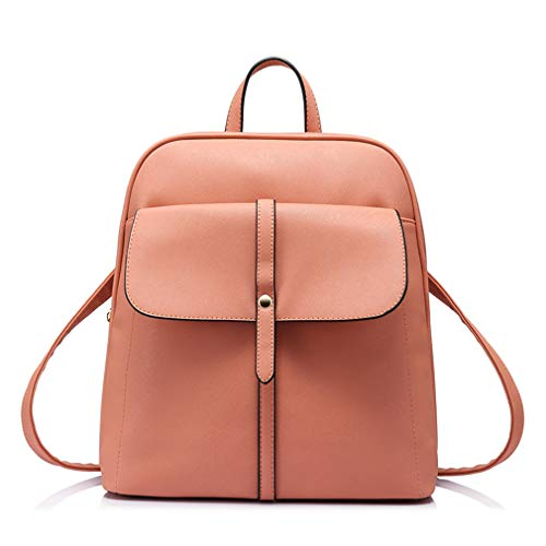 Teenage Shoulder Schoolbags Female Pu Women Daypack Girls Backpacks Preppy For Bag Coral Leather qCwOBdqx