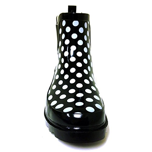 BS Womens Rain Boots Short Ankle Rubber Garden Fashion Snow Shoes Multiple Styles Color Black Polka Dots UvBNM