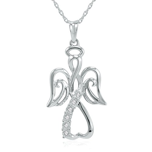 - Winged Angel Open Heart Diamond Pendant-Necklace in Sterling Silver 18
