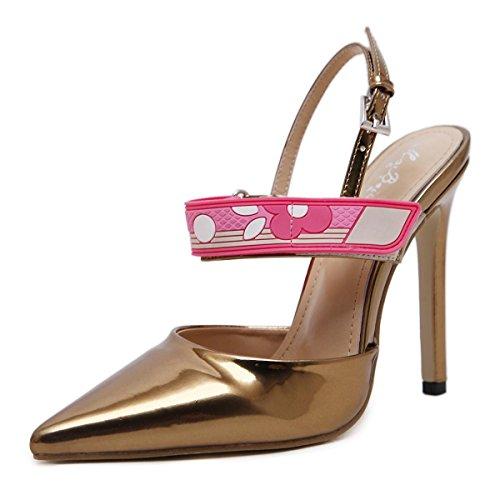 Color Bomba Tacones Gold Moda Zapatos L Baja Gradiente yc Damas Altos Punta Lucha Mujeres Nueva Boca w8pAqESI