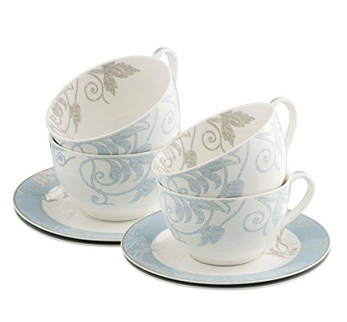 Belleek Novello Teacup & Saucer (Set of 4), Duck Egg