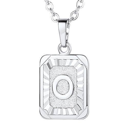 (U7 A-Z 26 Letters Pendant Men Womens Fashion Jewelry Platinum Plated Square Pendants Capital Initial Necklace)