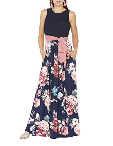 DUNEA Women's Maxi Dress Floral Printed Autumn 3/4 Sleeve Casual Tunic Long Maxi Dress (X-Large, Blue) ()