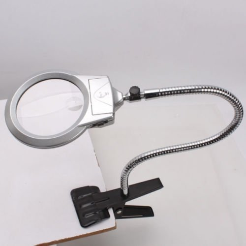 Large Lens Lighted Lamp Desk Magnifier Magnifying Glass With Clamp Led Light New  Metal Soft Tube Can Be Bent Freely At Any Different Angles