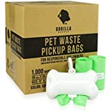 Gorilla Supply 1000 Green Dog Pet Poop Bags, EPI Technology, 50 Refill Rolls (Free Patented Dispenser)