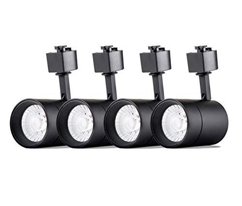 4-Pack LED Cylinder Track Lighting Heads for 2-Wire-1 Compatible Juno Track - FLSNT 12W (75W Equiv.) Dimmable 24° LED Spotlight Track Light Heads,CRI90,800LM,3000K Soft White,Black