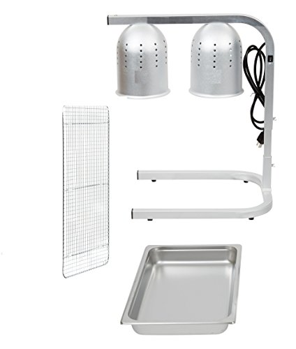 Chef Commercial Master HD Portable Heat Lamp Silver 2 Bulb Free Standing Heat Lamp Food Warmer with Pan and Grate - 120V, 500W by Chef Commercial Master AdvantcoHD