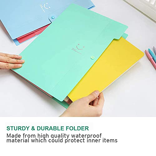 Expanding File Folder, 5 Pockets File Folder Document Organizer, A4 Document Accordion Folder, Portable Wallet Filling Storage (4 Colors)