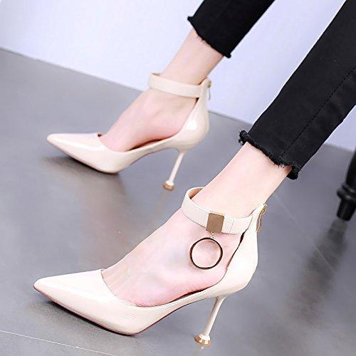 KPHY-Cabeza Puntiaguda Zapatos De Tacon De 9 Cm De Tacon Alto Fino Boca Superficial Zapatos De Mujer La Primavera Sexy Laca Hebilla Tacon De Gato Solo Zapato. Beige