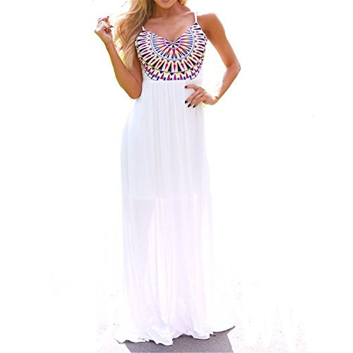Tirahse Womens Summer Chiffon Dress Long Max BOHO Beach Evening Party Sundress WhiteX-Large (Quirky Fancy Dress Ideas)