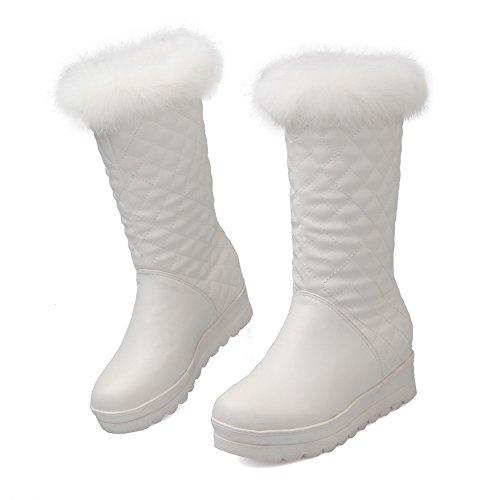 AllhqFashion Damen Rein Mittler Absatz Rund Zehe Ziehen auf Stiefel Weiß