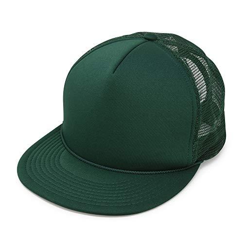 Flat Billed Trucker Hat with Mesh Back Cap in Dark Green