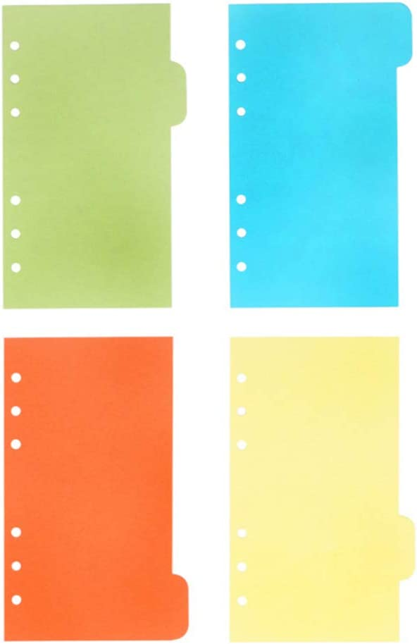 NUOBESTY 25pcs A6 Binder Index Dividers Insertable Index Page 6 Rings Translucent Binder Tab Cards for Notebook Travel Diary Journal Planner