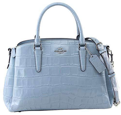 Coach Women's Large Embossed Crocodile Leather Sage Handbag Chambray, Style F38955 (Coach Handbags Embossed)