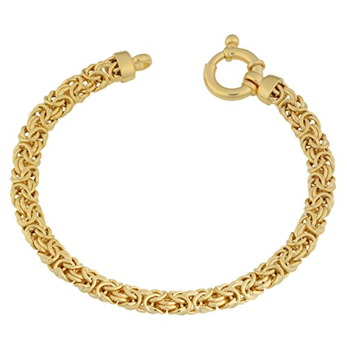 Yellow Gold over Sterling Silver Byzantine Bracelet (7.5 Inch)